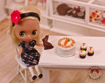 Miniature Carrot Cake & Cupcakes plus Chocolate Bunny, 1:12 Scale Dollhouse Dessets for Easter or Spring