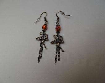Earrings dangling chains bronze fairy