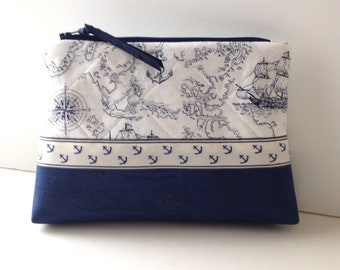 Cork Vegan Leather Nautical Theme Quilted Fabric Zipper Cosmetic Travel Bag Accessory