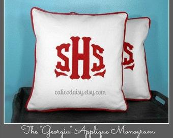 SET OF 2 - The Georgia Applique Monogram Pillow Cover - 18 x 18 square