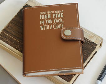 PersonalisedRecycled Leather Midi Embossed Slogan Snap Journal