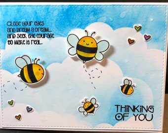 hello, hello card, thinking of you, bees, bee card