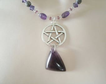 Amethyst Pentacle Necklace, wiccan jewelry pagan jewelry wicca jewelry witch witchcraft metaphysical pentagram necklace pagan necklace