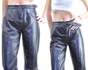 40 Off Black Friday Sale Vtg PAPERBAG LEATHER PANTS / paper thin leather / insane fit / high waisted / haute details / S M