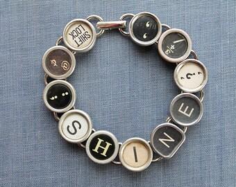 TYPEWRITER Key BRACELET Jewerly Made with Typewriter Keys SHINE