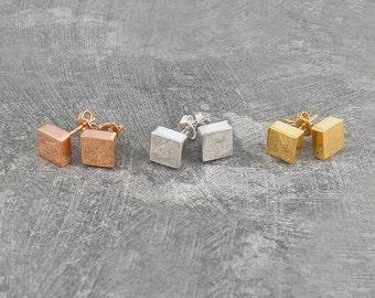 Square Studs, Silver Earrings, Square Earrings, Sterling Silver, Stud Earring, Minimal Jewelry, Flat Studs, Simple Earrings, Gold Studs, 925
