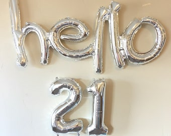 Hello 21 Decoration, Silver Balloons, 21ST Birthday Banner Balloons, birthday party decoration, Party, thirtieth