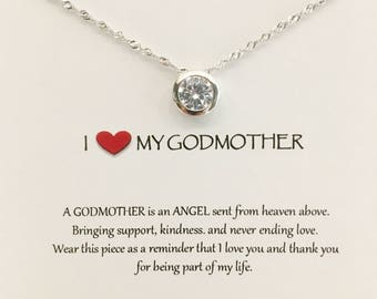 Gift for Godmother - Godmother necklace - Christening gift - Baptism gift Personalized baptism Christening gifts  Gift for her