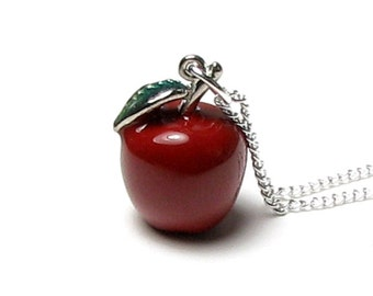Red Apple Pendant Necklace Snow White Fairy Tale Once Upon A Time Poison Fruit Evil Queen Long Silver Chain Swarovski Crystal Christmas Gift