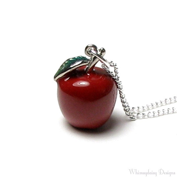 Red apple pendant necklace snow white fairy tale once upon a zoom mozeypictures Image collections