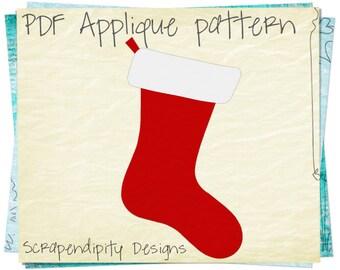 Christmas Applique Template - Stocking Applique Pattern / Christmas Shirt Design / Scrapbook Design / Kids Boutique / Baby Clothing AP106-D
