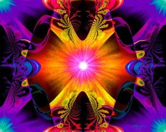 Psychedelic Art Print, Orange Chakra Decor, Reiki Energy Abstract Wall Art Print