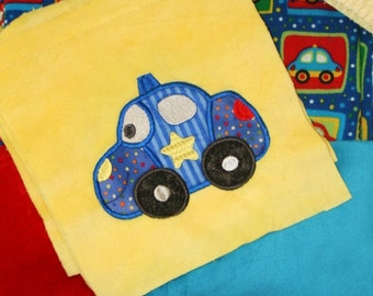 "Appliqued Minky Blanket Kit "" Happy Cars and Trucks"""