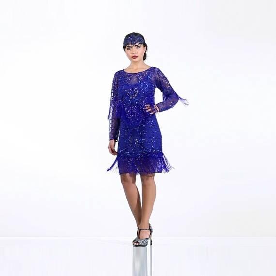 Zierliche Frida Königsblau Fransen Kleid mit Ärmeln mit Slip