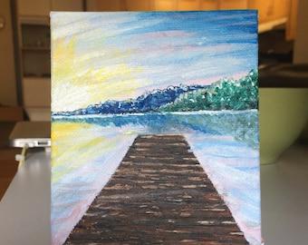 "Small Original Painting: ""Summer Dock"""