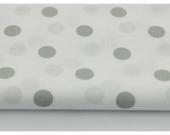 100% cotton fabric piece 160 x 50 cm, the textile impress cotton gray polka dots to 1.7 cm about