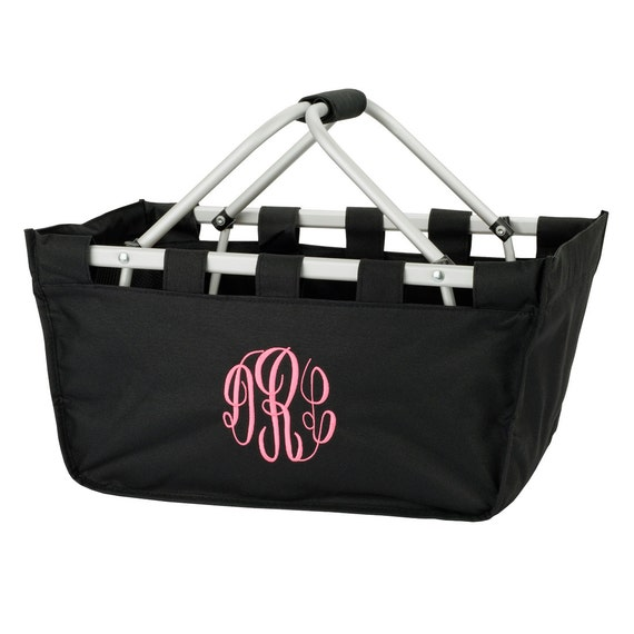 Black Market tote picnic basket tote monogram basket tote personalized tote bag tailgate tote gameday bag college dorm shower caddy basket