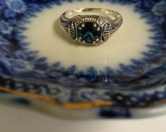 Estate Sterling Silver 925 London 1ct Blue Topaz Zircon Filigree Antique Victorian Ring Band JL984