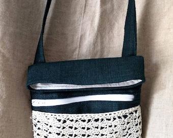 Handmade Hemp Crossbody bag, Crochet Lace Purse, Ecofriendly, Sustainable Fashion, Teal and White purse