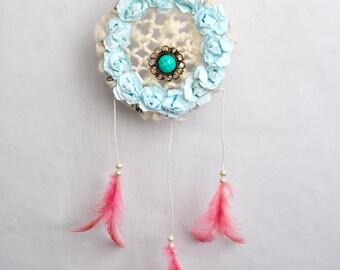 Blue flower dreamcatcher - Ooak dreamcatcher - Shabby chic dreamcatcher - Cameo dreamcatcher
