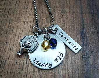 Hand Stamped Personalized Basketball Necklace - Girls Basketball Team Gift - Pick Team Colors - Basketball gift