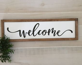 """Welcome wooden sign / 22""""W x 6.5""""H / entryway sign / home decor / housewarming gift / wall decor / farmhouse sign / handmade"""