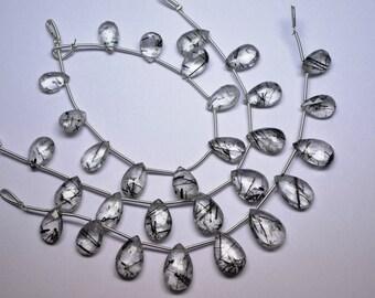 AAA 11-16mm Super Fine Black Rutilated Quartz Faceted Pear Briolette-10 Beads/Strand