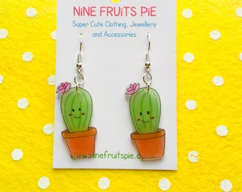 Super kawaii flowering cactus earrings