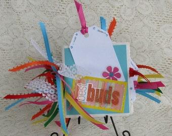 BEST BUDS Tiny Paper Bag Album 3.5 x 3.5 Friends, Buddies,Scrapbook album
