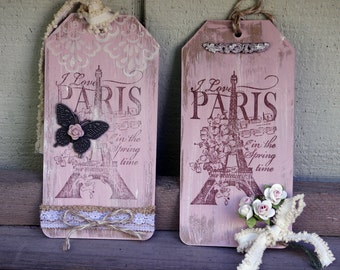 Shabby Paris Hand Painted Art Tags Pair