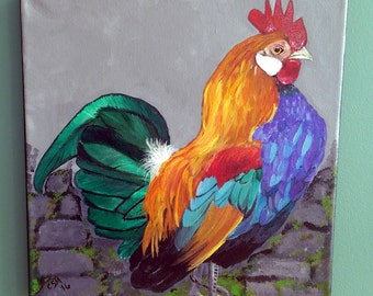 Mr. Roo - The Rooster - Acrylic Painting SALE PRICE!