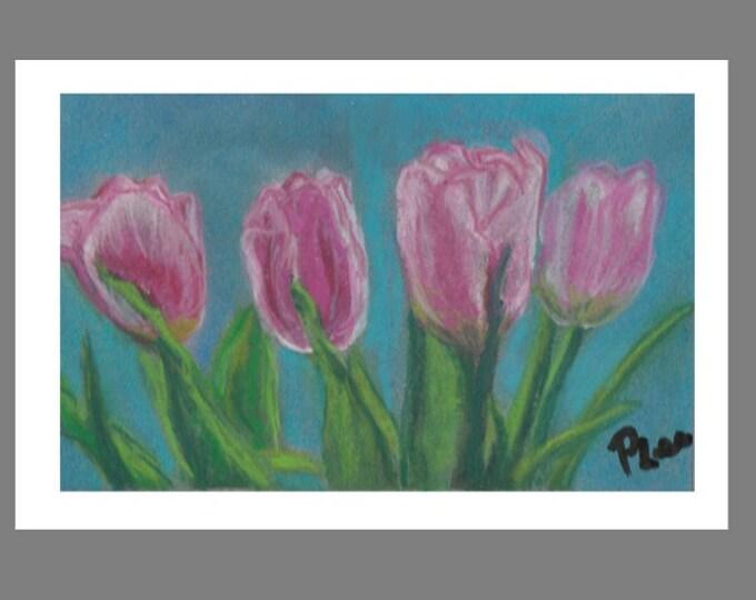 "PRINT of Original Pastel Painting, Flower Artwork, ""Pink Tulips"""