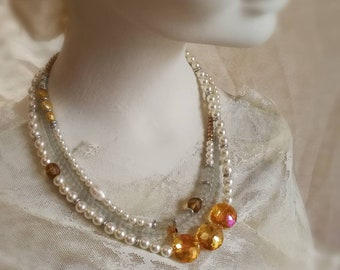 Chunky pearl wedding necklace. Ivory bridal jewelry. Bohemian wedding necklace with gold colored beads, light blue beads, ivory faux pearls.