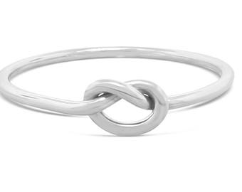Sterling Silver Dainty Ring Love Knot Ring -  Minimalist Ring Celtic Ring - Eternity Ring Mothers Day Gift