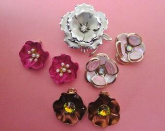 SALE Jewelry DeStash Vintage Flower Brooch and Earrings