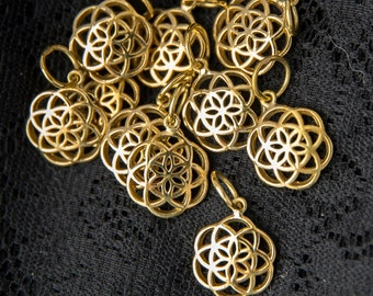 Wholesale pack of 5 merkaba 3d charm pendants brass gold small star wholesale 10 pack seed of life charm pendant ten pieces charms for jewellery making flower life pendants sacred geometry bracelets wbp1310 aloadofball Images