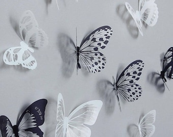 36 pcs – Monochrome 3D Butterfly