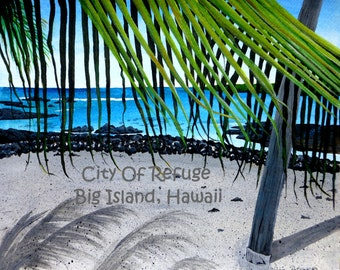City Of Refuge on the Big Island of Hawaii Giclee print by Vickie Peters