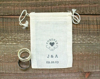 Personalized wedding ring bag, cotton ring bag, ring bearer accessory, ring warming bag, Forever heart with initials and date, wedding ring
