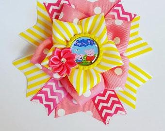 Peppa Pig hair Bow, Peppa pig hair clip, Peppa pig hairbow, Peppa pig birthday party, Peppa Pig birthday party, Peppa Pig outfit, Pig onsie