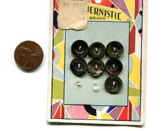 New/Old Stock - Card with seven (7) shell buttons - Art Deco?