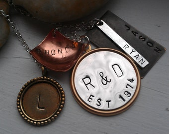 Family Hand Stamped Necklace - Mixed Metal Jewelry - The Charmed Wife - GIfts for Her - Unique Personalized Necklace - Sterling Silver