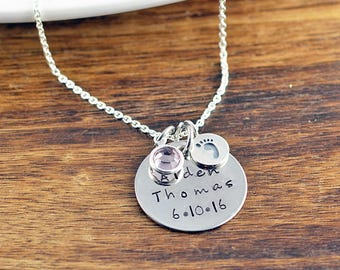 New Mom Jewelry, Baby Name Necklace, Mommy Necklace, Child Name, Baby Birth Necklace, Mommy and Me, Personalized Baby Name Necklace