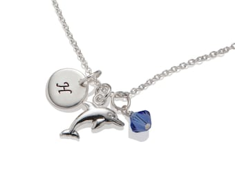 Girl Dolphin Necklace, Personalized Girl Birthday Gift Idea, 925 Sterling Silver
