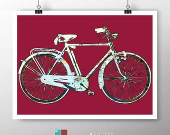 Retro Street Map Bicycle Art on Premium Archival Matte Paper