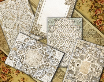 Printable Lace Backgrounds, Digital Collage Sheet, ACEO Size Images, Instant Download