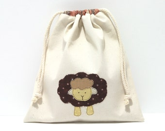 SALE - Sheep sock project bag, brown applique drawstring storage pouch