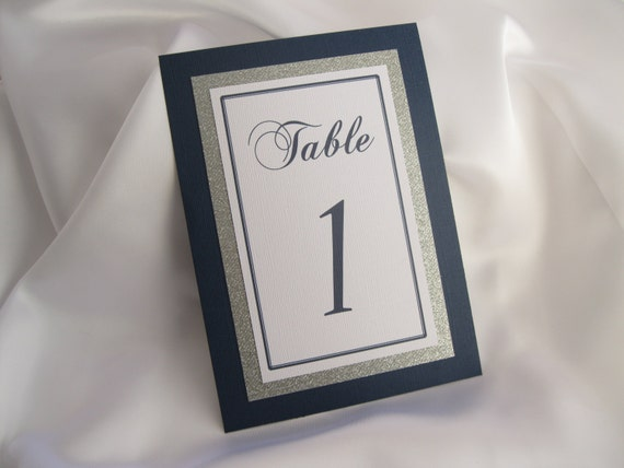 Navy & Silver Glitter Wedding Table Numbers Set of 6