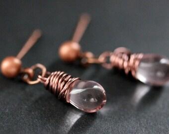 COPPER Earrings - Pink Teardrop Earrings. Stud Earrings. Dangle Earrings. Post Earrings. Handmade Jewelry.