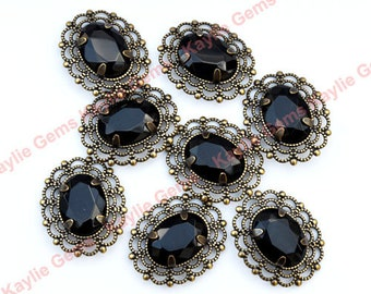 Jet Black 13x18 Oval Glass Jewel Vintage Looking Antique Brass Filigree Pendant 2 pieces